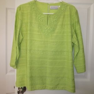 Spring Green Alfred Dunner Tunic Top Lace & Beads